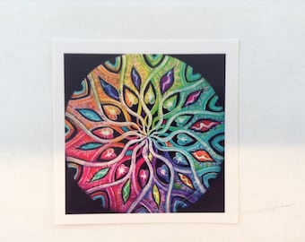 Mandala Sticker- color wheel chakra One  Original Illuminated Mandala Drawing Sticker- 3 inch - Color Wheel Chakra  Mandala