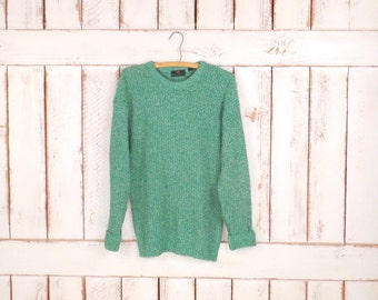 Vintage green/white crew neck slouchy pullover sweater/green woven knit sweater/Abercrombie and Fitch/small/meduim