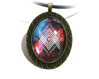 Baltic sign cabochon amulet, Sign of world order