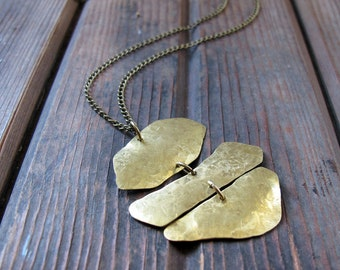 Wander Curves - Long Brass Necklace - Artisan Tangleweeds Jewelry