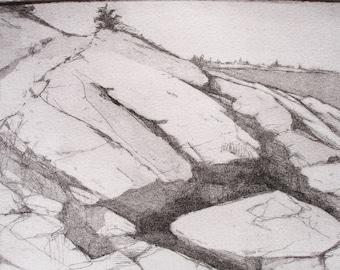 Original Fine Art Etching, Mariginal Way Path