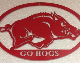 "Razorback ""GO HOGS"" Oval Wall Art"