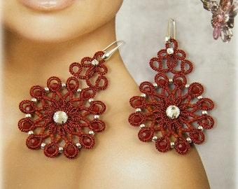 Glamour , needle tatting earrings pattern
