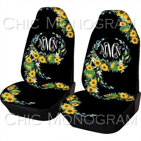 Sunflower Car Seat Covers Sunflowers Front Seat Covers Monogram Personalized Seat Covers For Car For Vehicle Sunflower