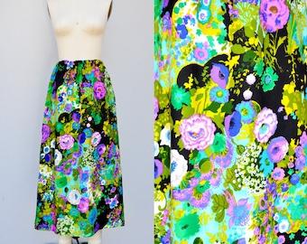 SALE Psychedelic Skirt - Floral Skirt - Maxi Skirt - Flower Child 60s 70s Skirt DrawString Waist Festival Boho Gypsy Hippie Summer M L XL