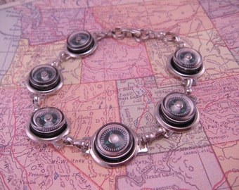 Oh Man I'm Lost Itsy Bitsy Compass Directional Silverplated Bracelet 7 Inches