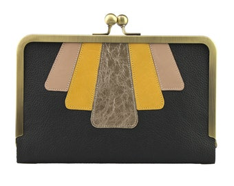 Hold All Leather Applique Wallet in Black, Gold, Mustard & Pale