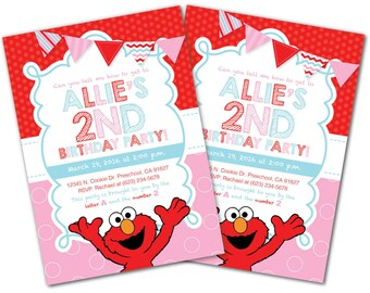 Girl elmo invitation Etsy