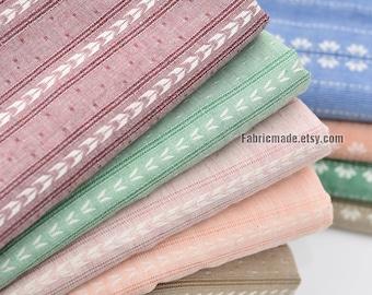 Jacquard Stripes Cotton Fabric, Stripes Cotton In Blue Pink Cream- 1/2 Yard