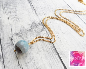 Agate necklace, Simple gemstone necklace, Layering necklace, Minimalist necklace, Crystal necklace, Birthstone, blue, gold necklace, for her