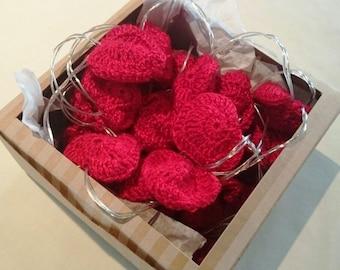 Crochet cotton heart string lights, fairy lights,