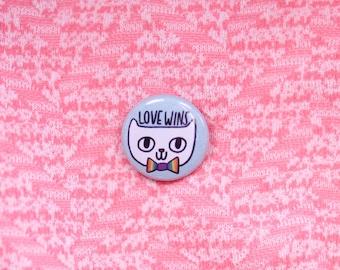 Love Wins Pin / Cat Pin / Cat Buttons / Cat Pins / Cat Button / Pride Pin / Love Wins Pin / Pride Cat Pin / Cute Cat Pin