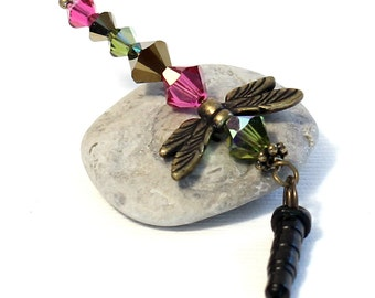 Crystal Dragonfly Charm - Olive Green, Hot Pink Fuchsia, Bronze Crystals, Cell Phone Dust Plug