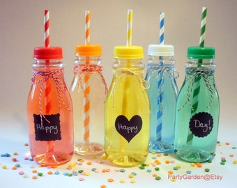 5 Vintage Clear Plastic Milk Bottles and Lids with Straw Holes - Medium 12 oz