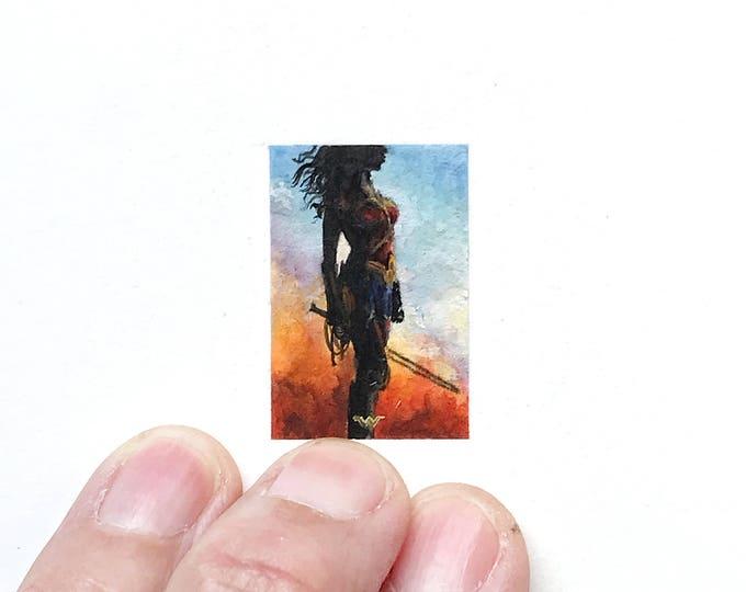 Print of miniature watercolor painting of Wonder Woman.  giclee print of superhero Wonder Woman