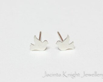 Tiny silver dove stud earrings