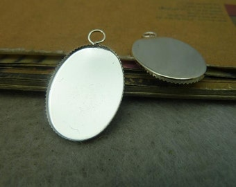 20 Antique Silver Oval 18x25mm Jagged Bezel Cup Cabochon Mountings AC4637