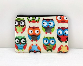 Colorful Owl Coin Purse - Owl Pouch - Owl Zipper Bag - Zipper Card Wallet - Padded Change Purse - Gift ideas