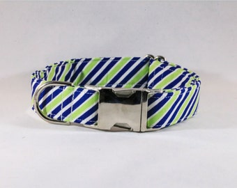 Preppy Navy Blue and Lime Dog Collar