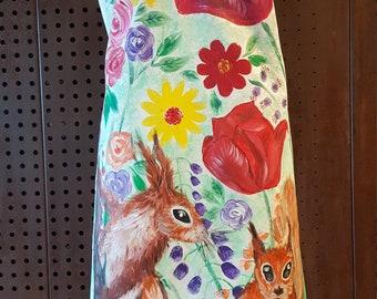 "Hand painted ""squirrels"" short shoulder dress"