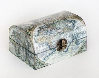 Jewelry storage, Decoupage Jewelry Box, Wooden Memory box, Decorative Box, Vintage world map box, Keepsake box Treasury Chest