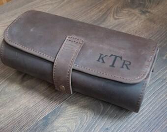 Leather Toiletry Bag Men, Dopp Kit, Shaving Bag, Present Groomsman Gift Wedding Men's Travel Case, Travel Accessories, Custom Christmas Gift