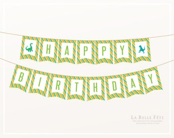 DINOSAUR Stomp, Chomp, Growl + Roar Birthday Banner / Bunting