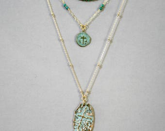 Three Strand Turquoise Patina Cross Necklace, Religious Necklace, Cross Necklace, Minimalist Jewelry, Religious Jewelry, Turquoise Necklace