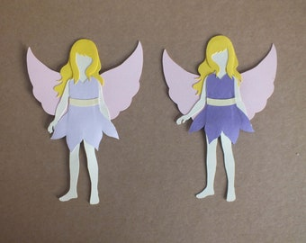 2 Assembled FAIRY Greeting Cards Scrapbooking Dress up dolls