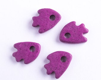 25%OFF Mykonos Ceramic Fish Greek Tiny Beads Purple Fuchsia  Buttons Sewing embroidery scrapbooking supplies DIY pendant (10 pack) MB17
