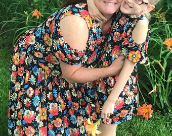 Mother daughter dress,mommy and me outfit,mommy and me dress,polyknit dress,flowered dress,matching dresses,off the shoulder dresses