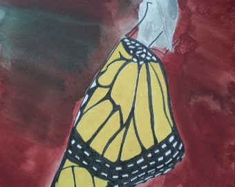"""Butterfly: Original Gouache Painting on Paper 8.5"""" x 11"""""""