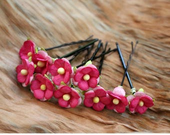 Mini Pink Flower, Mulberry Paper Flower Set of 10 Small Flower, Wedding Hair Accessories, Paper Flower Hair Pins (FL81)