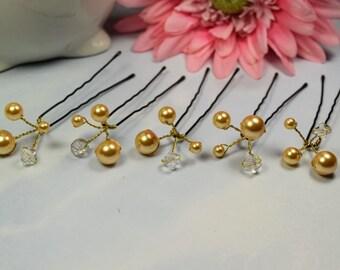 Swarovski Pearl Hair Pins, Set of 5, Wedding Hair Pins, Crystal Hair Pin, Wedding Jewelry, Bridal Hair Pins, Pearl Hair Pins, Pins
