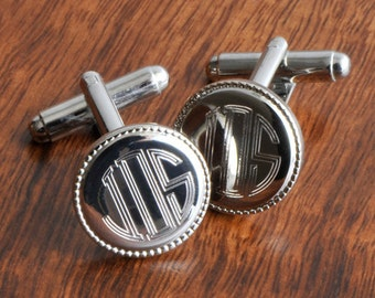 Personalized Round Beaded Cufflinks for Groomsmen - Silver Round Beaded Cufflinks - Monogrammed Cufflinks - Gift for Him -  GC202