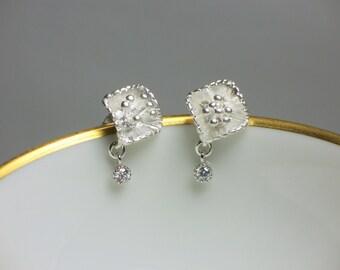 Post Earrings, Silver Earrings, CZ earrings, Fancy, Petite, Floral earrings, Stud Earrings, Jewelry, Jewellery, Gift for Her