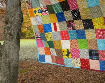 Patchwork quilt, Farmhouse full, Funky Random Patchwork Quilt--picnic/double size--81X81--all cotton blanket, Free US Shipping