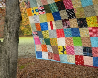 Funky Random Patchwork Quilt--Queen-size--93X93--all cotton blanket, retro, vintage look, edgy vibe