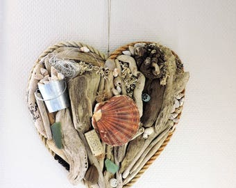 HEART on wood DRIFTWOOD and shells (unique)
