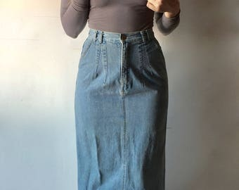 vintage jean wiggle skirt / high waist jean skirt / 90s long jean skirt / denim maxi skirt / denim pencil skirt