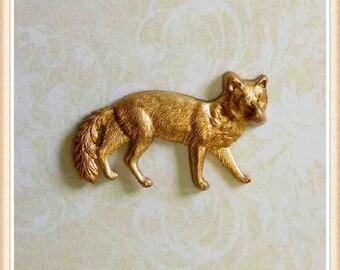1 pc fox raw brass finding embellishment ornament #2516