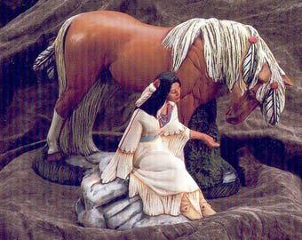 Ceramic Bisque U-Paint Native American Indian Maiden Feeding a Horse Unpainted Ready To Paint DIY PYOP Doc Holliday
