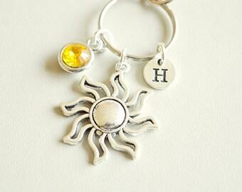 Sun Keychain, Sun Gift, Personalized Sun, Sun Keyring, Sun Gift for Women, Sun Charm Gift, Silver Sun Keychains, Sunshine, Boho, Unique,Cool