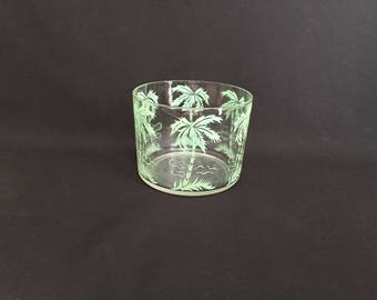 Palm tree glass bowl turquoise teal seafoam green retro vintage MCM beach life island