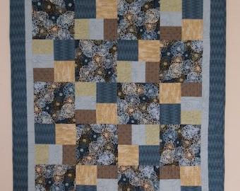 Clearance lap quilt, throw quilt, blue quilt, finished quilt, patchwork quilt, handmade quilt