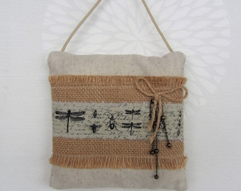 Decorative pillow, mini pillow to hang on a doorknob or wall, home decor industrial style of cotton and jute