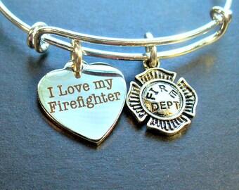 Firefighter Charm Bangle Bracelet, I Love My Firefighter, Maltese Cross, I Love My Fireman Bracelet, Stainless Steel,Bangle Bracelet
