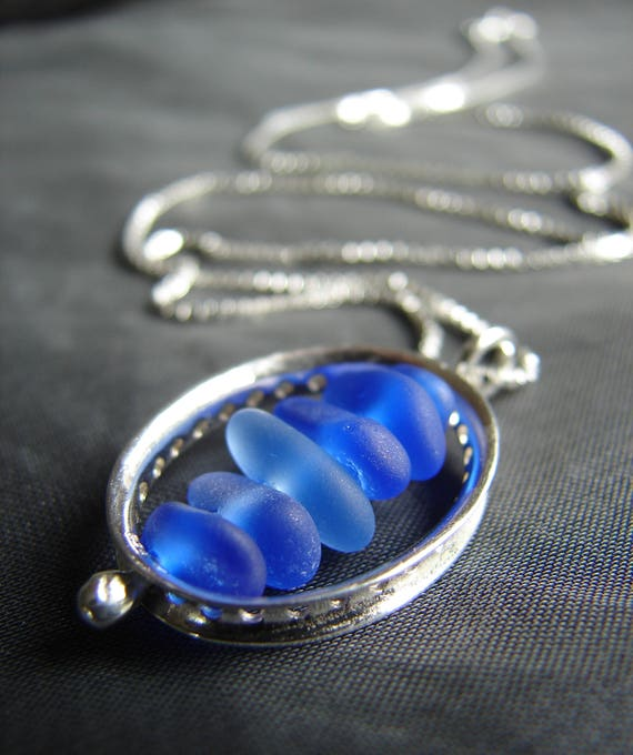 Drops in the Ocean sea glass necklace in ocean blues