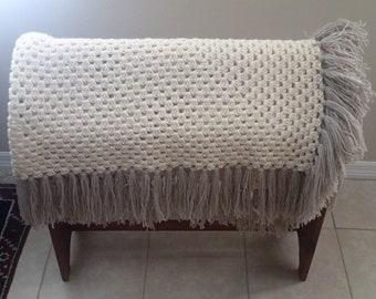 Handcrafter 100% Wool Crochet Blanket