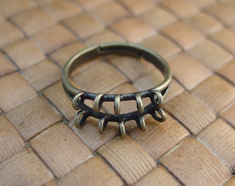 10 pcs 10 Loop Antique Gold Plated Brass Adjustable Ring Bases